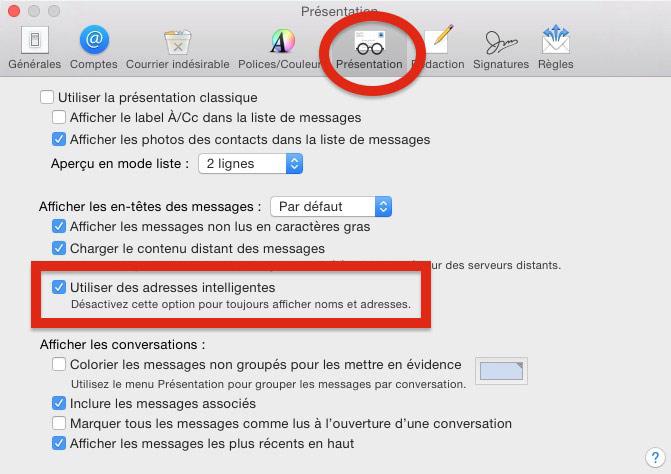 option de présentation dans Mail