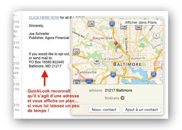 affichage d'un plan dans Mail avec QuickLook