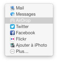 menu de partage de QuickLook