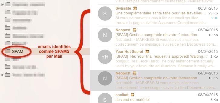 Boite aux lettres dédiée aux Spams dans Mail