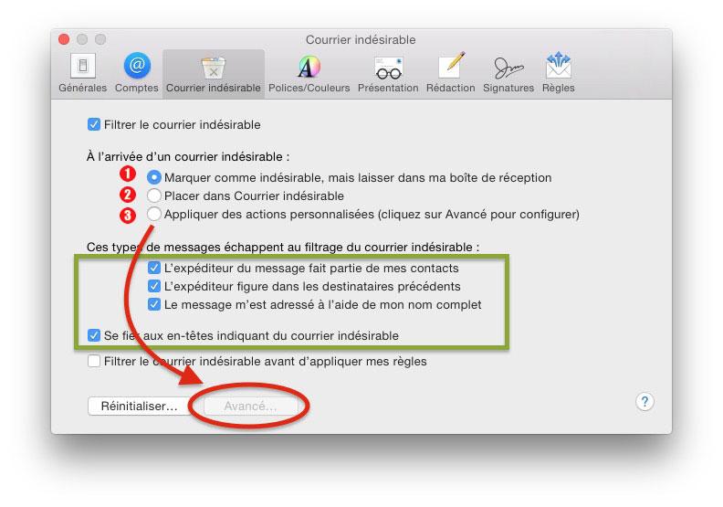 options pour gérer les spams dans Mail